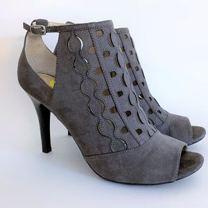 Adrienne Vittadini Open Toe Gray 'Grins' Booties 9
